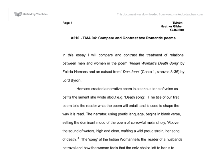 compare and contrast two r tic poems university miscellaneous  document image preview