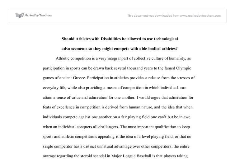 Athletes with disabilities free essay