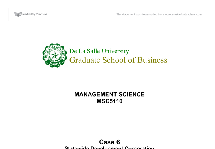 statewide development corporation answer to case study Quantitative analysis for management uploaded by samia elsayed connect to download get pdf quantitative analysis for management.