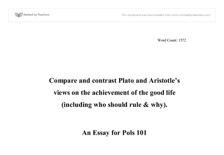 plato v aristotle the good life university miscellaneous  document image preview