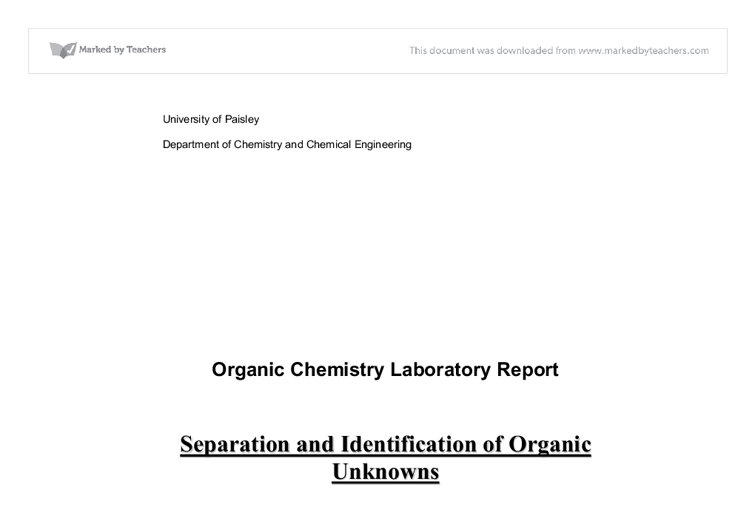 Separation and identification of organics from