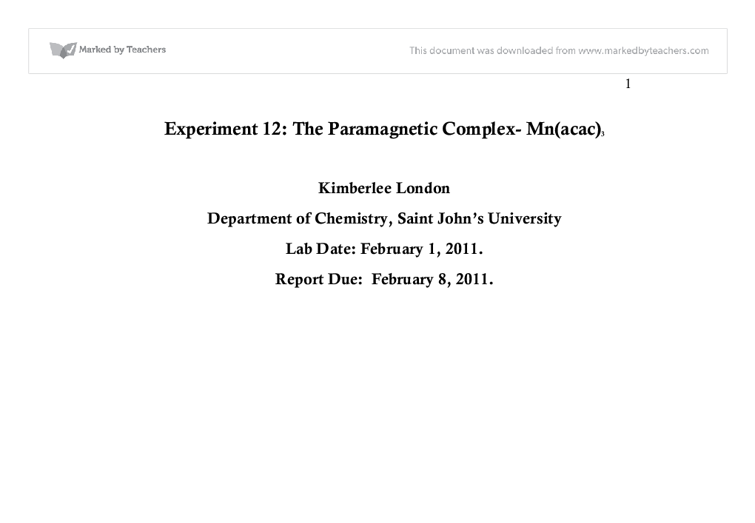 Experiment 12 The Paramagnetic Complex Mnacac3 University