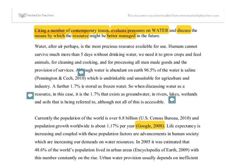 water is a limited resource environmental sciences essay Importance and requirements of water environmental sciences essay cloud seeding introduction nowadays, 40% of the world population is suffering from a shortage of water for drinking and irrigation in addition, each water conference is warning that most of the countries all around the world are going to face water shortages within 25 years.
