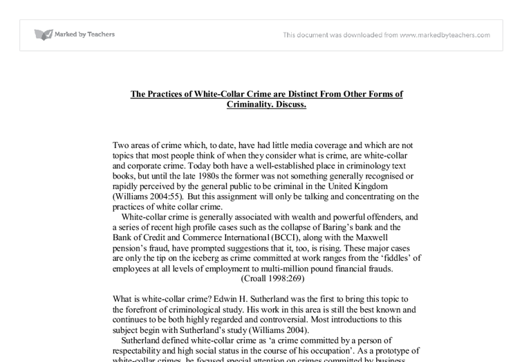 white collar crime essay questions