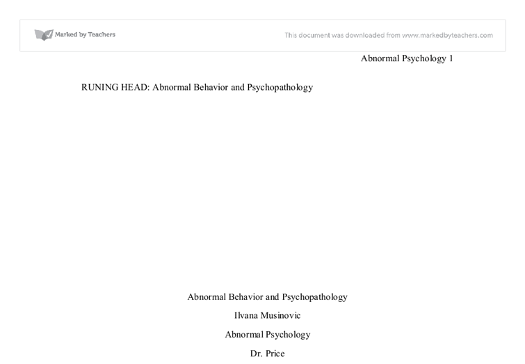 abnormal psychology in the media essay Free coursework on abnormal behavior from essayukcom, the uk essays company for essay, dissertation and coursework writing  media essays medicine essays .
