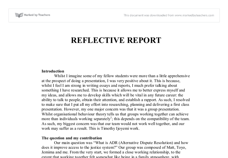 Reflective essay on working with a team university for Structured reflective template