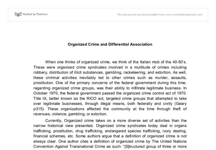 perceptions of organized crime groups essay Free essay on organized crime from sicily to the united states available totally free at echeatcom, the largest free essay community.