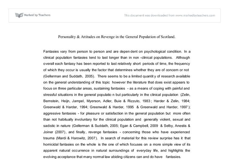 personality attitudes on revenge in the general population of scotland essay The role of mass media in facilitating community education and child abuse prevention strategies bernadette j saunders and chris goddard.