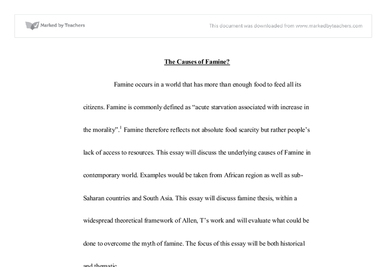 the causes of famine university social studies marked by  document image preview