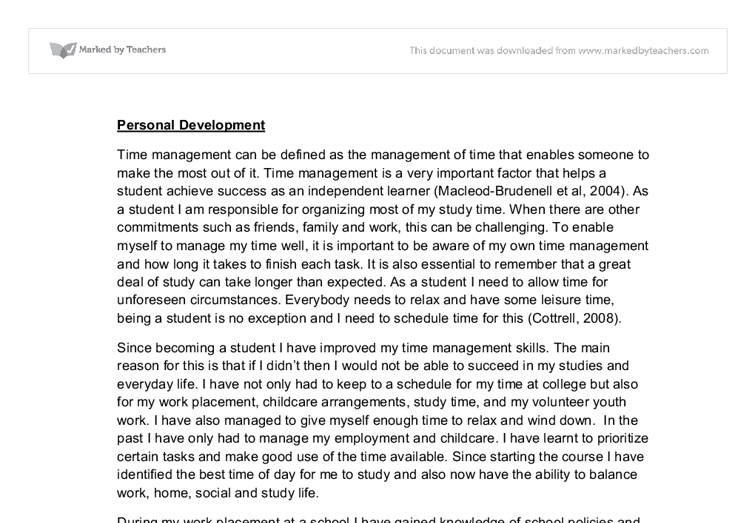 Personal development plan and relfections essay