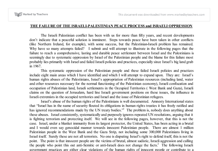 """the israeli palestinian peace process essay Processes and negotiations, stable peace, reconciliation, and the arab-israeli  conflict in  the israeli-palestinian conflict, and possible arrangements for  jerusalem dr michael  """"review essay: the jewish-people deniers: when  and how."""