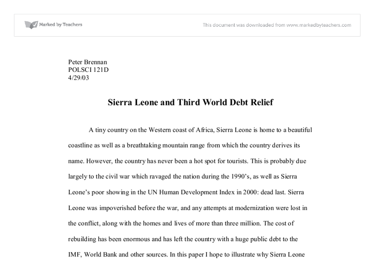 Third world debt relief essay