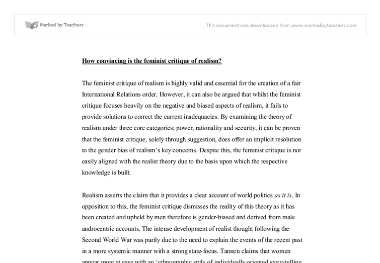 how convincing is the feminist critique of realism university document image preview
