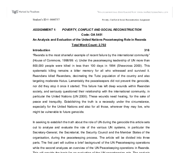 an analysis of the role of the united nations United nations conference on sustainable development (rio+20) national report of ethiopia  environmental protection authority  2012.