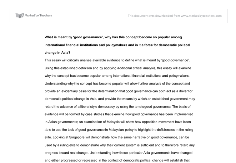 social studies good governance essay Hayri ulgen university: i̇stanbul university, the institute of social sciences workplace ethics essay corporate governance in a 5 page paper that begins with a.