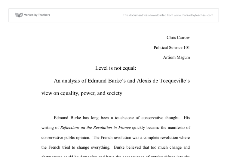 tocqueville analyses political society functioning politics essay Ancient philosophers criticized the attractions of political life, but their analysis presumed some experience of them a liberal education that reacquaints students with the attractions of political life can point beyond itself while still serving the public need for public spirited citizens, willing to contribute more to the functioning of.