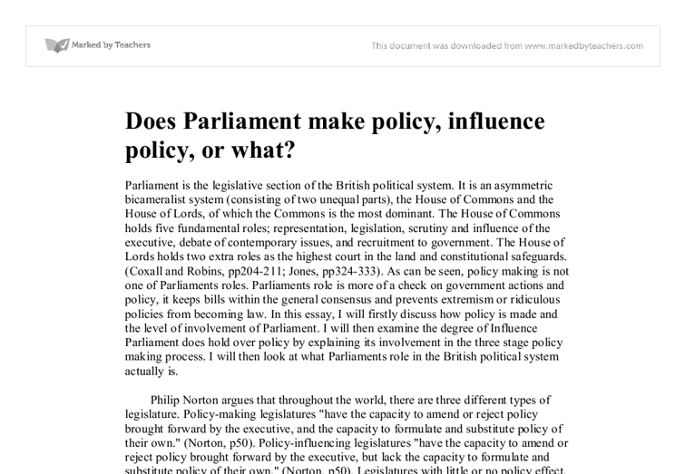 essay on role of a parliamentarian