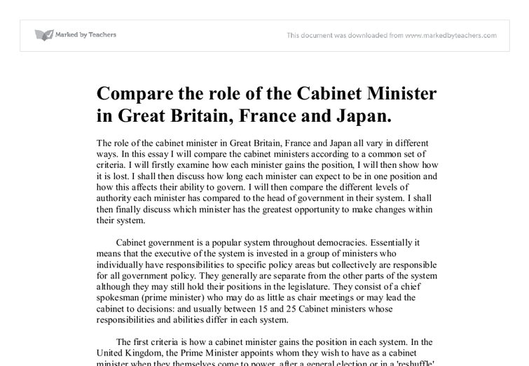 The role of the cabinet minister in great britain