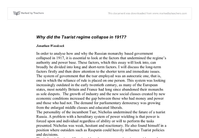 the tsarist regime essay Open document below is an essay on why did the tsarist regime collapse in 1917 from anti essays, your source for research papers, essays, and term paper examples.
