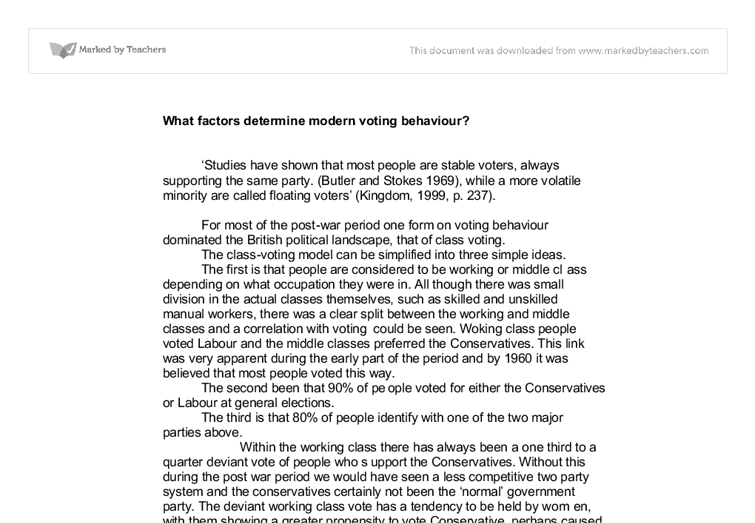 Higher modern studies voting behaviour essay