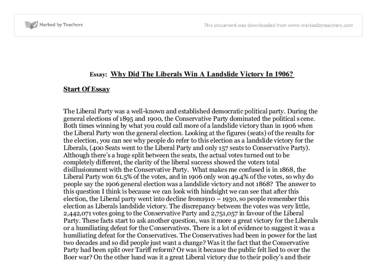 the 1906 landslide victory essay Essay focuses on how the party responded to its two previous landslide defeats   in 1906 polled as many votes as in the election victory of 1900, but had been .