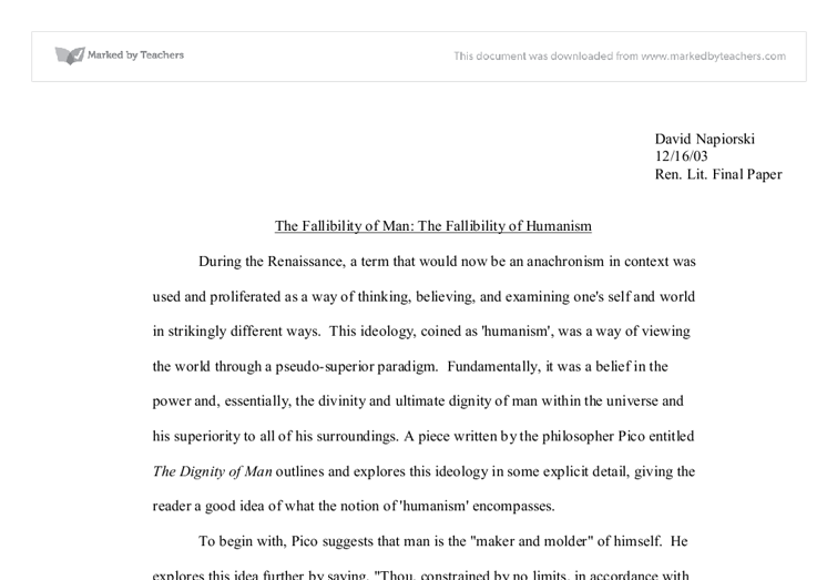 humanism essay the fallibility of man the fallibility of humanism