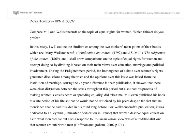 j s mills and wollstonecraft s concerning rights on women  document image preview