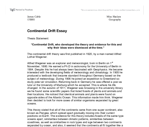 continental drift exploring the theory essay