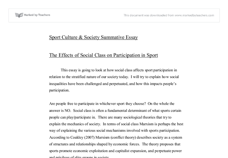 sport and social class essay Alison's work in sport for social change began in 2002 as a soccer  that  intersect for many girls including gender, race, class, religion, ability,.