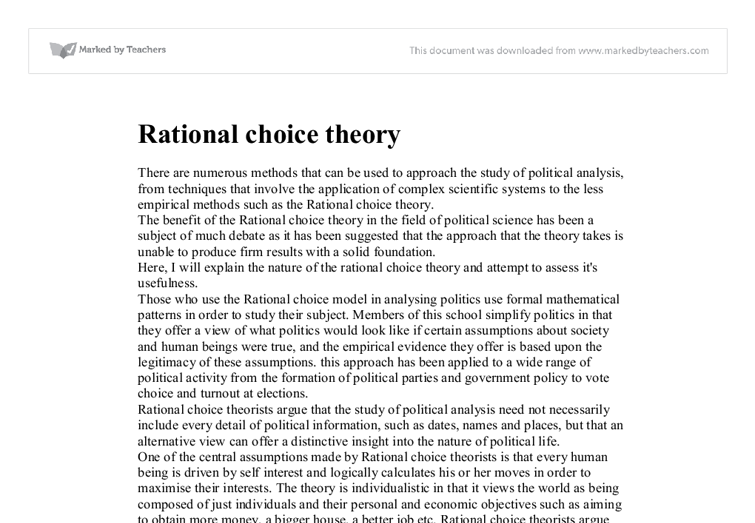 essay on rational choice theory The rational choice theory is based on the fundamental principles of traditional criminology, ,,,sample term paper on rational choice theory.
