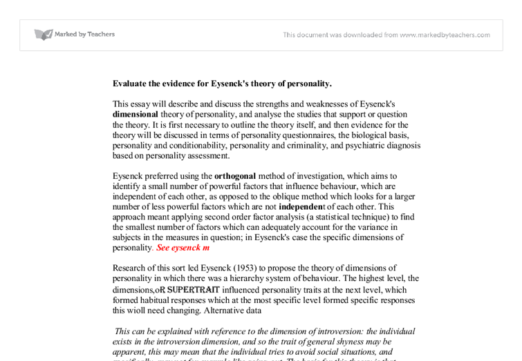 evaluate the evidence for eysenck s theory of personality document image preview