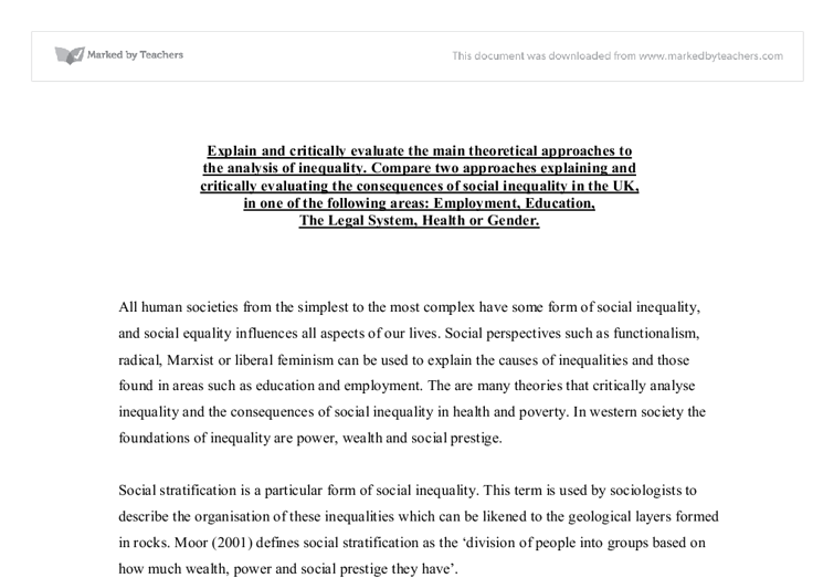 Sociological theories of social inequality essay