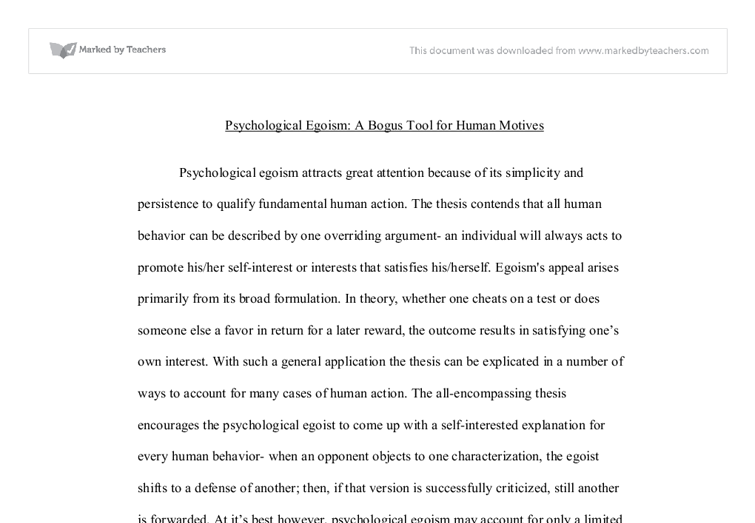 psychological egoism theory essay The theory of ethical egoism implicates that the moral agents always tend to act in their own self-interests ethical and psychological egoism essay.
