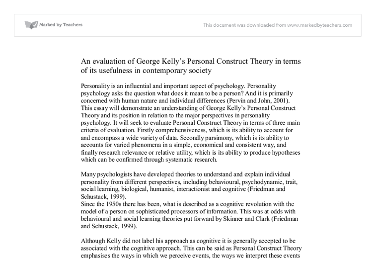kelly s personal construct theory weaknesses and strengths Robert l leahy american institute for cognitive therapy,  george kelly's (1955) psychology of personal  comprehensive nature of beck's model, beck's theory and.
