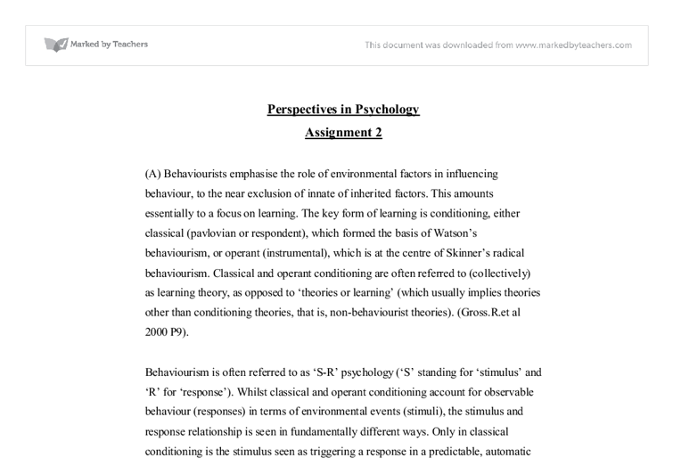 perspectives of psychology essay Psychology essay - social psychology is the scientific study of how we affect each other by anything from what we say or do, to the simple act of our presence.