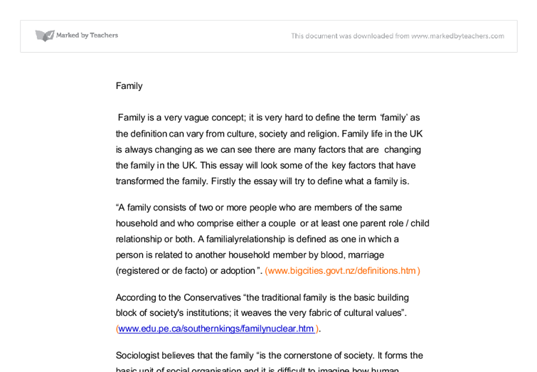 What defines a family essay