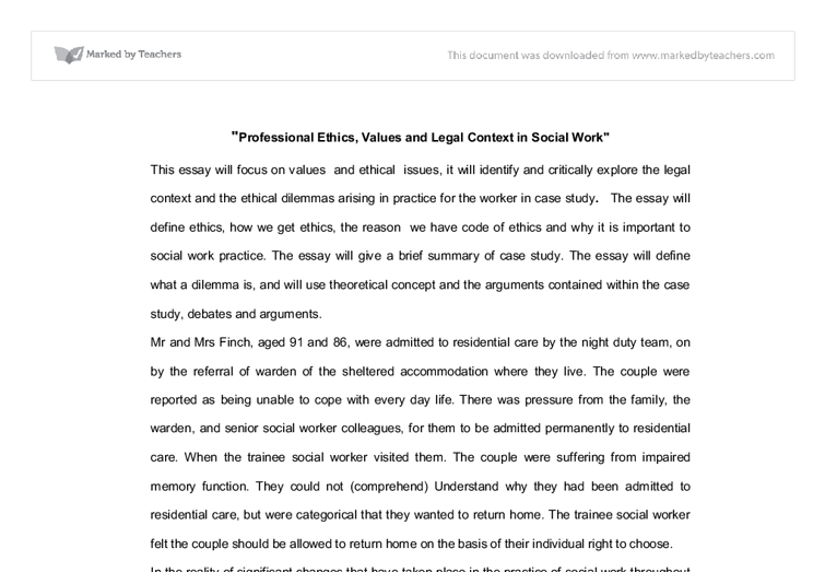 professional ethics values and legal context in social work  document image preview