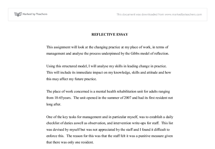 reflective essay on leadership in mental health  university social  document image preview