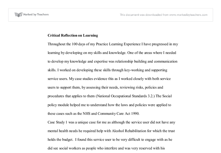 critical reflection university social studies marked by  document image preview