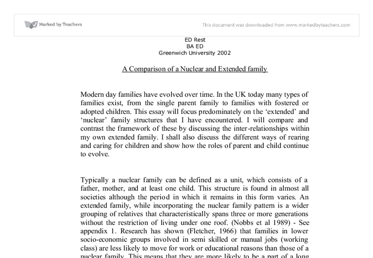 a comparison of a nuclear and extended family university social  document image preview