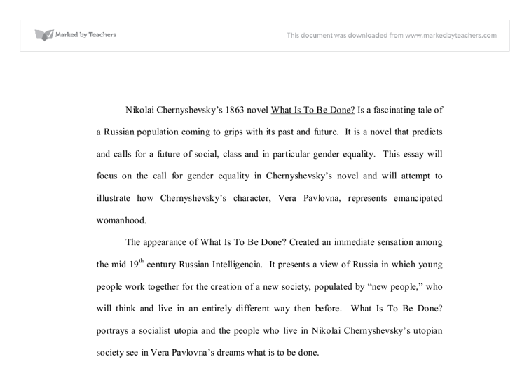 the call for gender equality in chernyshevsky s novel what is to  document image preview