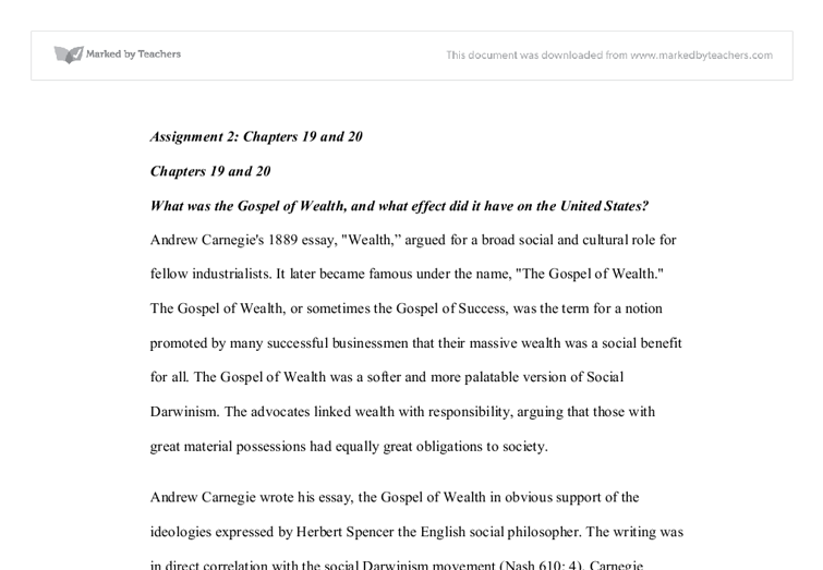 what was the gospel of wealth and what effect did it have on the  document image preview