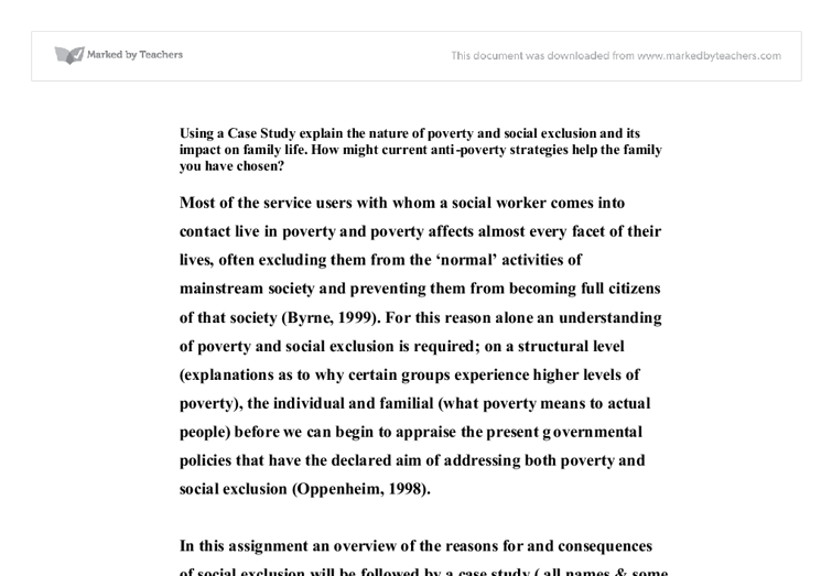 Social exclusion and its implication essay