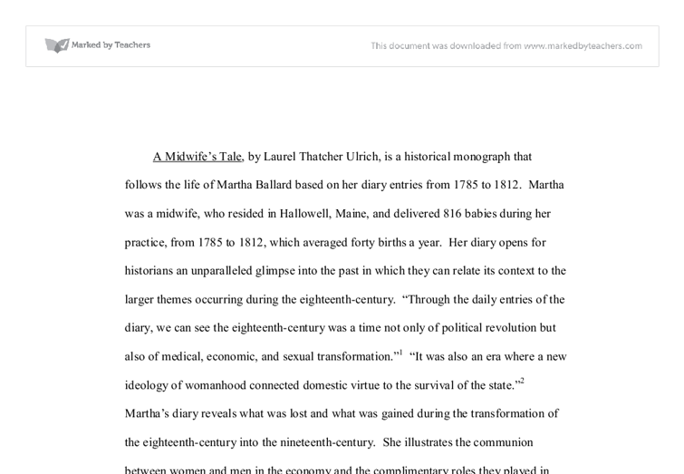 a midwifes tale the life of martha ballard based on her diary 1785 1812