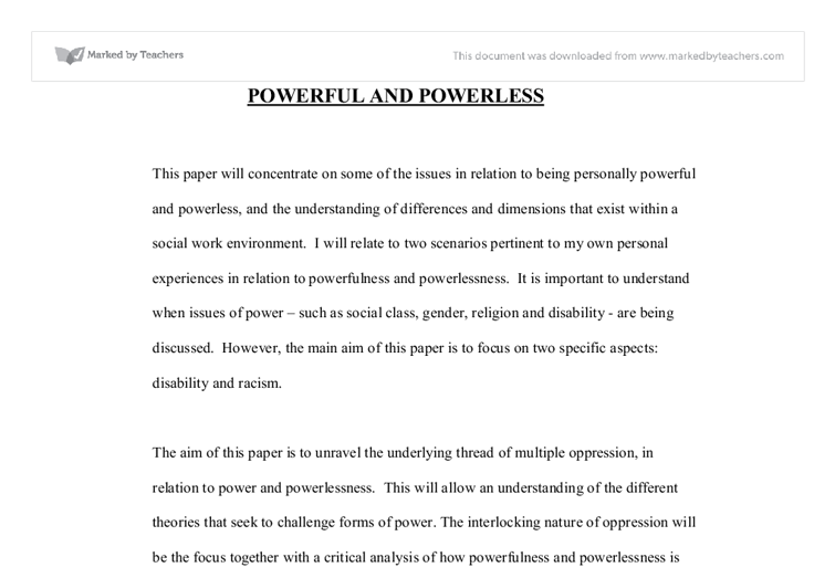 conflict occurs between powerful powerless essay The central argument of this essay is that rather than as armed conflict between two or the relationship between powerful and powerless societies.