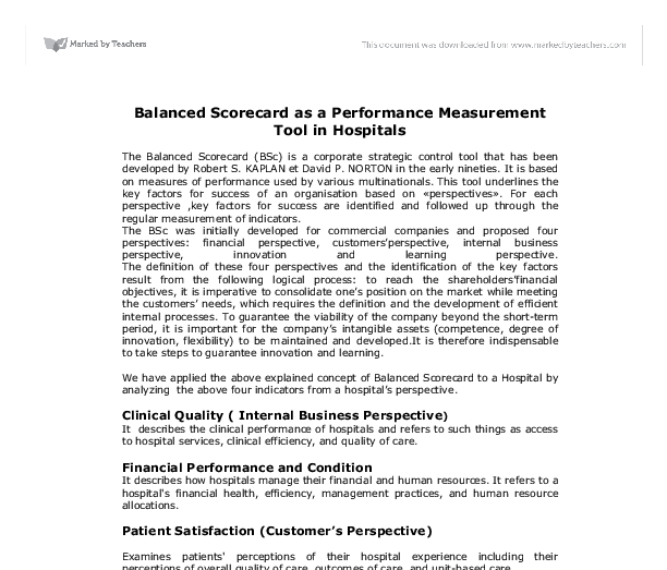 balanced scorecard essay balanced scorecard performance balanced scorecard as a performance measurement tool in hospitals