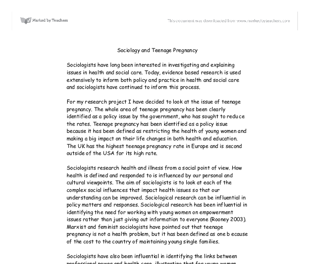 Essay about teenage pregnancy