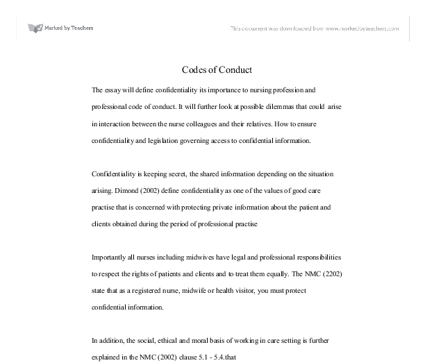 the essay will define confidentiality its importance to nursing  document image preview