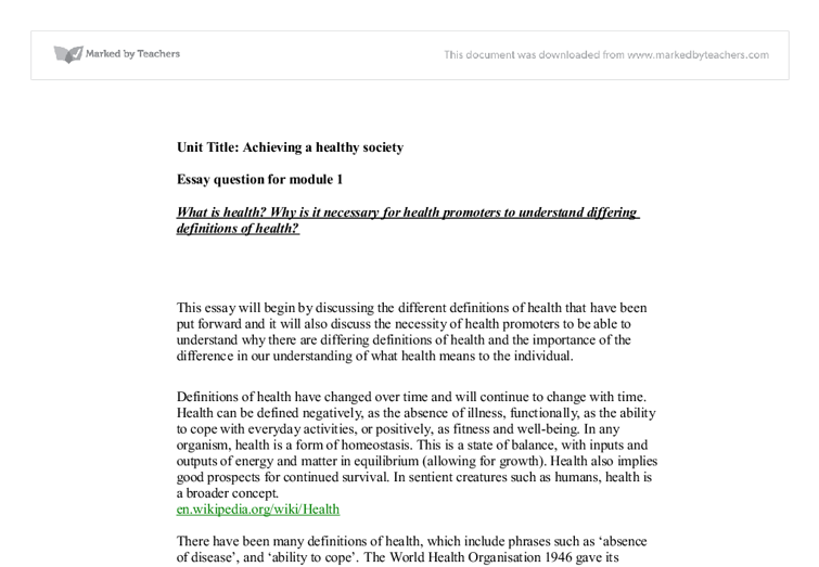 health society essay Essays from bookrags provide great ideas for health essays and paper topics like essay view this student essay about health.