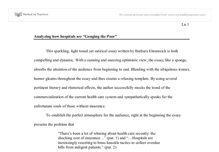 Analyzing How Hospitals Are Gouging The Poor  University  Document Image Preview